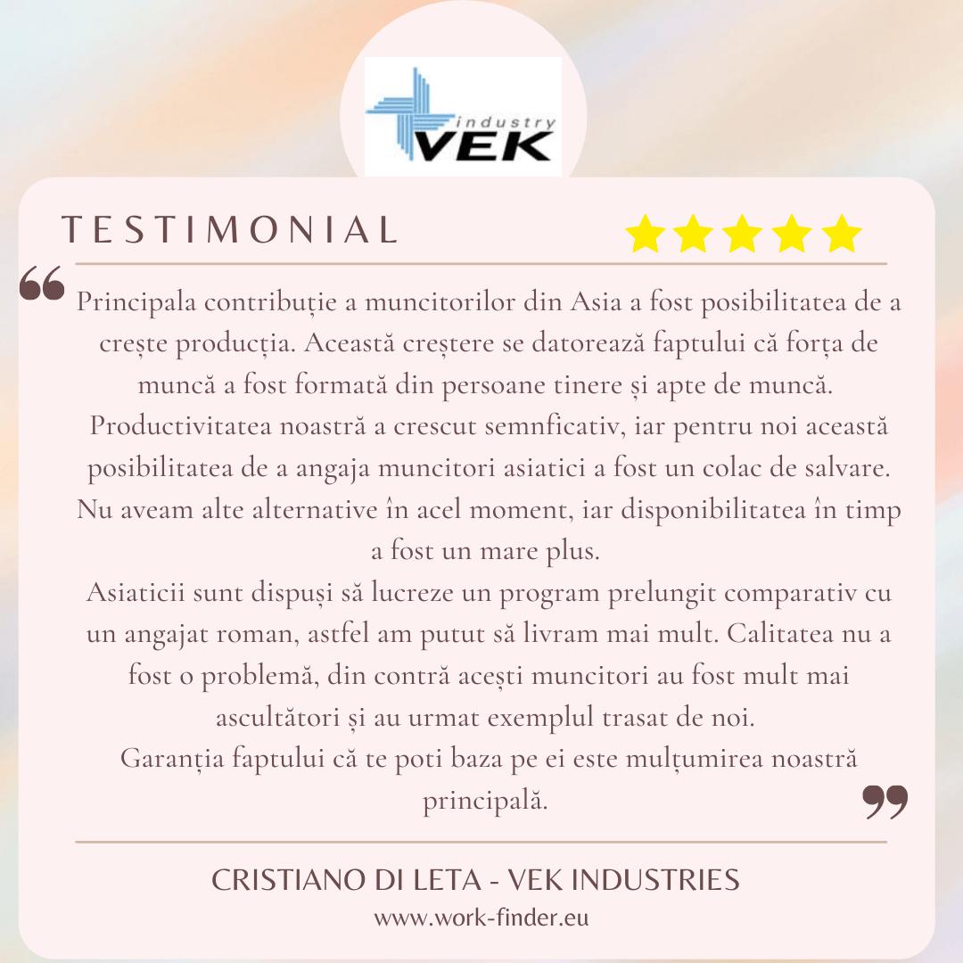 Testimonial Vek Industries - International Work Finder
